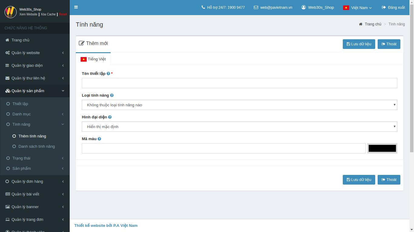 Web30s] Hướng dẫn sử dụng trang Admin Web30s - Quản lý sản phẩm